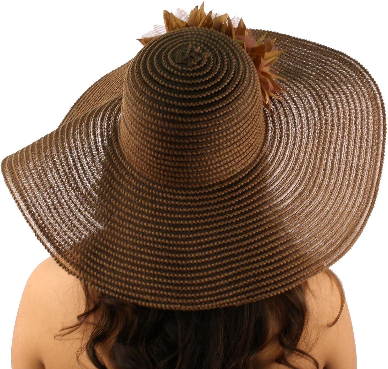 Summer Cotton Mesh Dual Floral Net Floppy Wide 5 Brim Beach Sun Hat 57cm