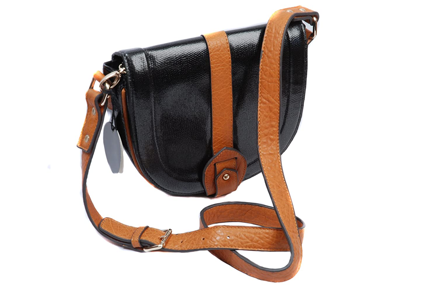 Black and tan patent small satchel shoulder handbag with leather strap by Dolly & Daisy