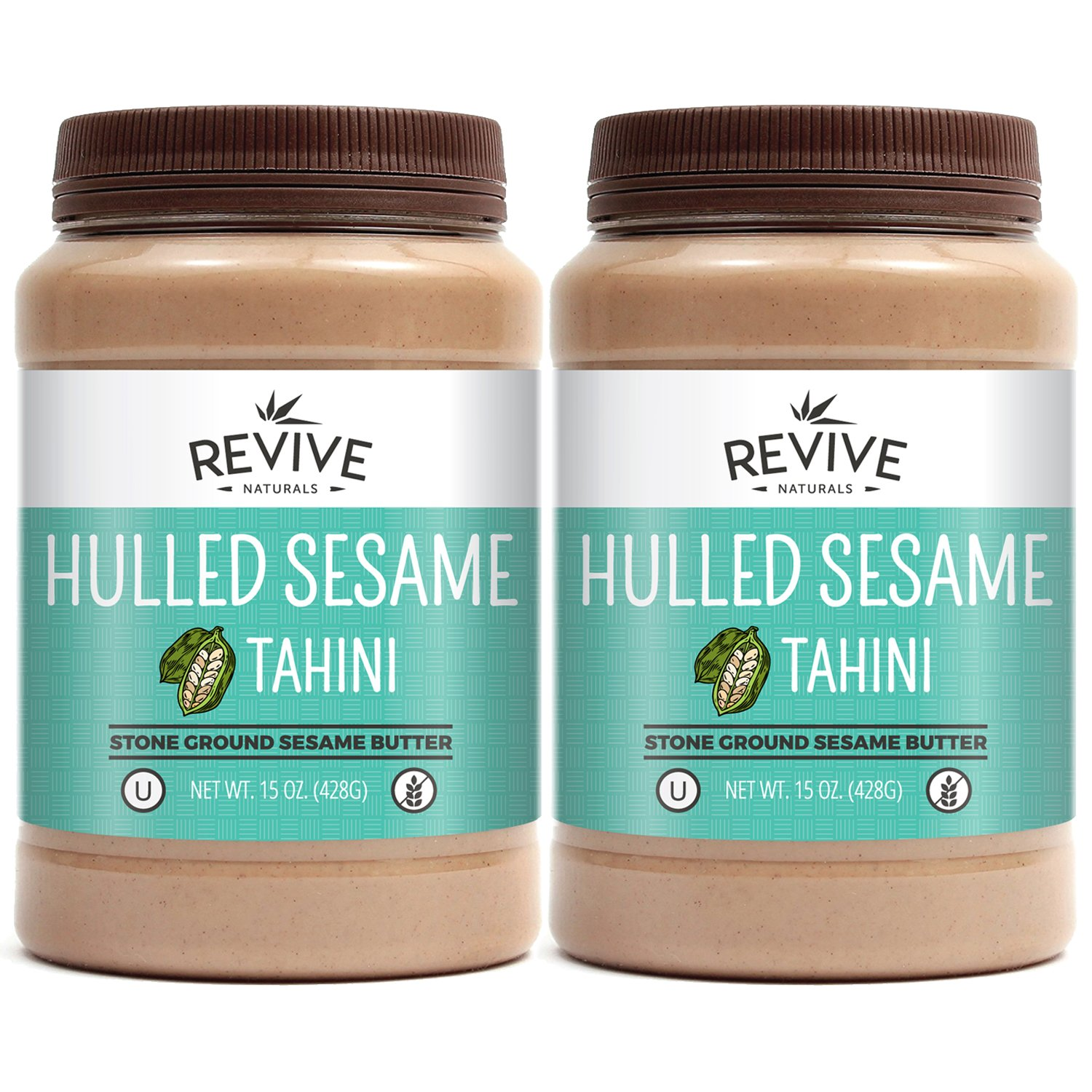 Revive Naturals Stone-Ground Hulled Sesame Tahini, Unsalted, Non-GMO, Gluten-Free, Kosher, Vegan, Tree Nut-Free, 15 Ounce (2-Pack)
