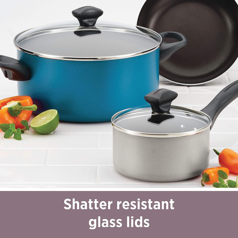 Blue Farberware 21947 Dishwasher Safe Nonstick Frying Pan Set Skillet Set Fry Pan Set 8 Inch and 10 Inch
