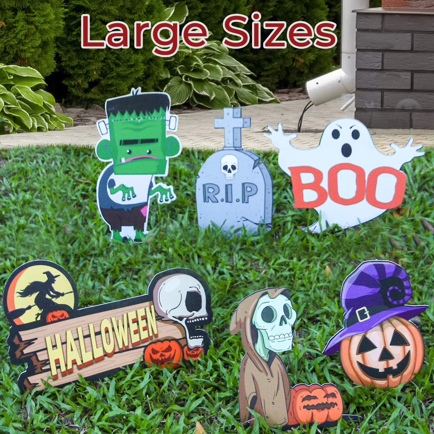 Halloween Yard Sign Eye-catching Halloween Yard Decor Kids-friendly Designs of Skull Ghost Pumpkin Monster Large Size Scary Halloween Decorations in Entrances / Backyards / Lawns / Interiors (6pcs)