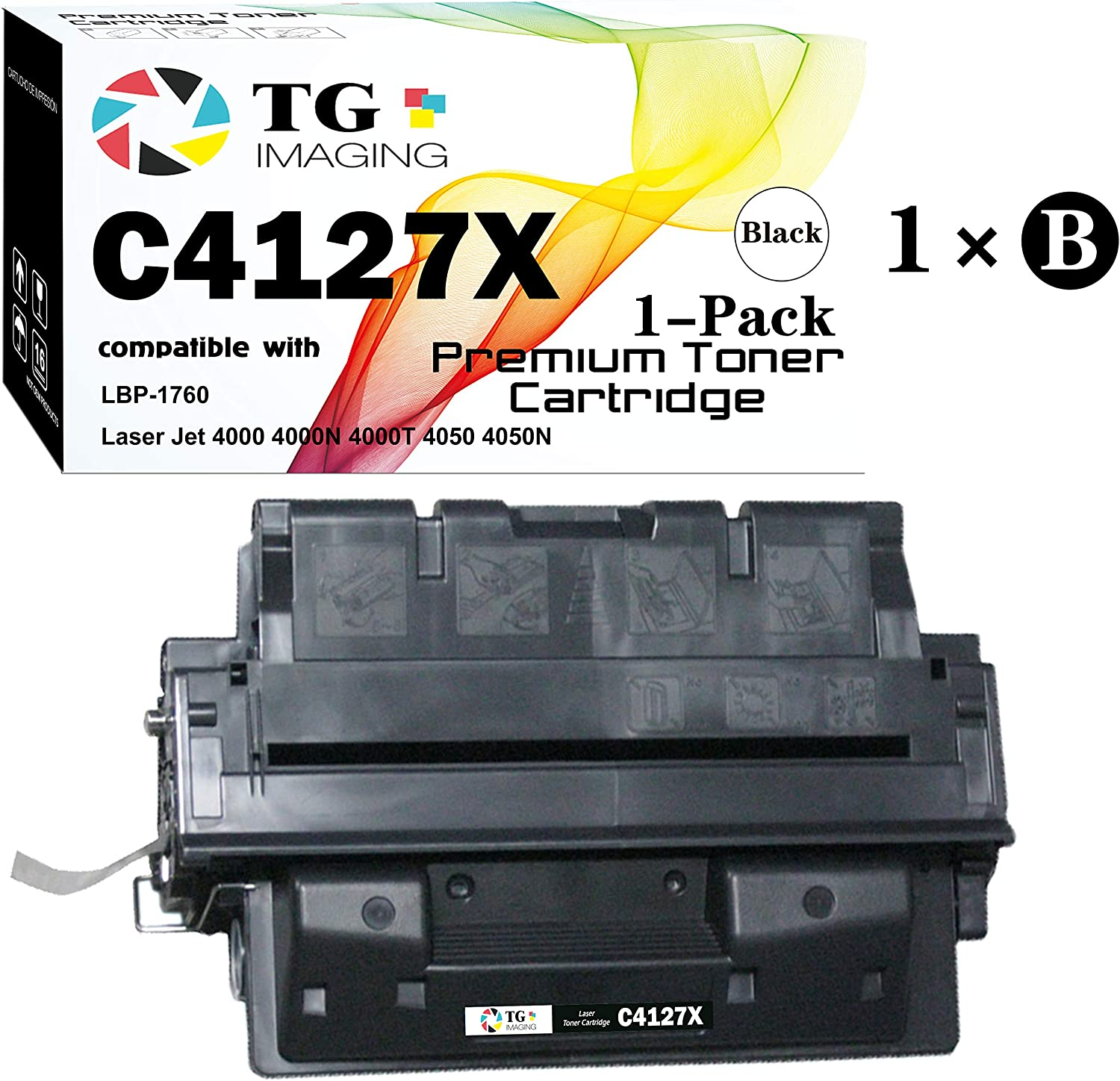 (1-Pack, High Yield) TG Imaging Compatible HP 27X C4127X Toner Cartridge C4127A 27X for use in HP Laser Jet 4000 4000N 4000T 4050 4050N LBP-1760 Printer