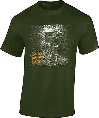 Camiseta: Home Sweet Home - Regalo para Cazador - T-Shirt Caza - Verraco Trabajo Bosque Animal Salvajina Jager Hunter - Shirt Camisa Hombre-s y ...