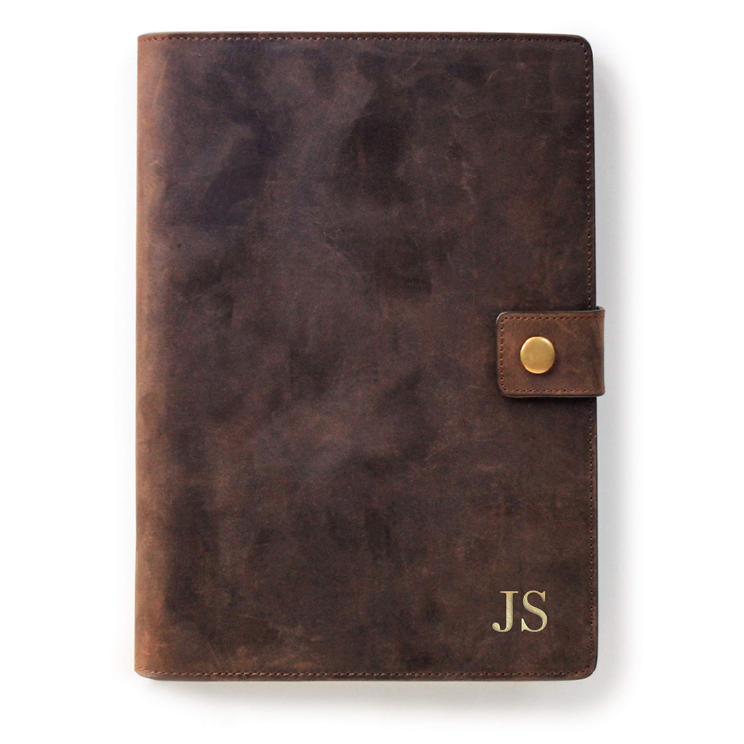 Monogrammed Full Grain Premium Leather Refillable Journal Cover with A5 Lined Notebook, Pen Loop, Card Slots, Brass Snap by Case Elegance
