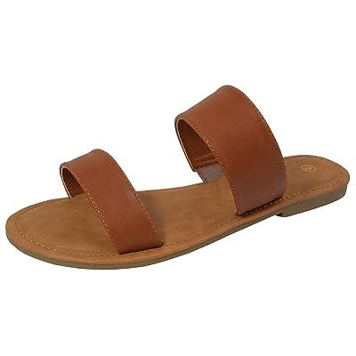 Cambridge Select Women's Two Strap Slip-On Flat Slide Sandal | Sandals