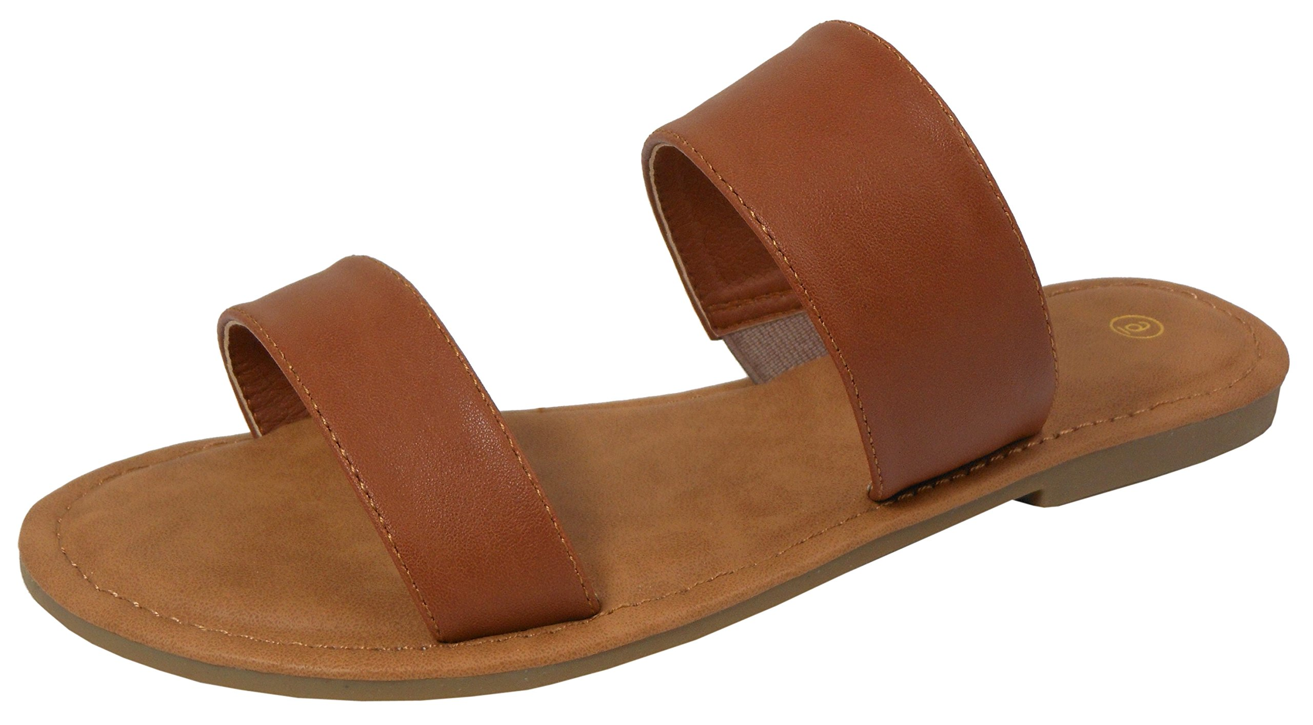 Cambridge Select Women's Two Strap Slip-On Flat Slide Sandal (8.5 B(M) US, Tan)