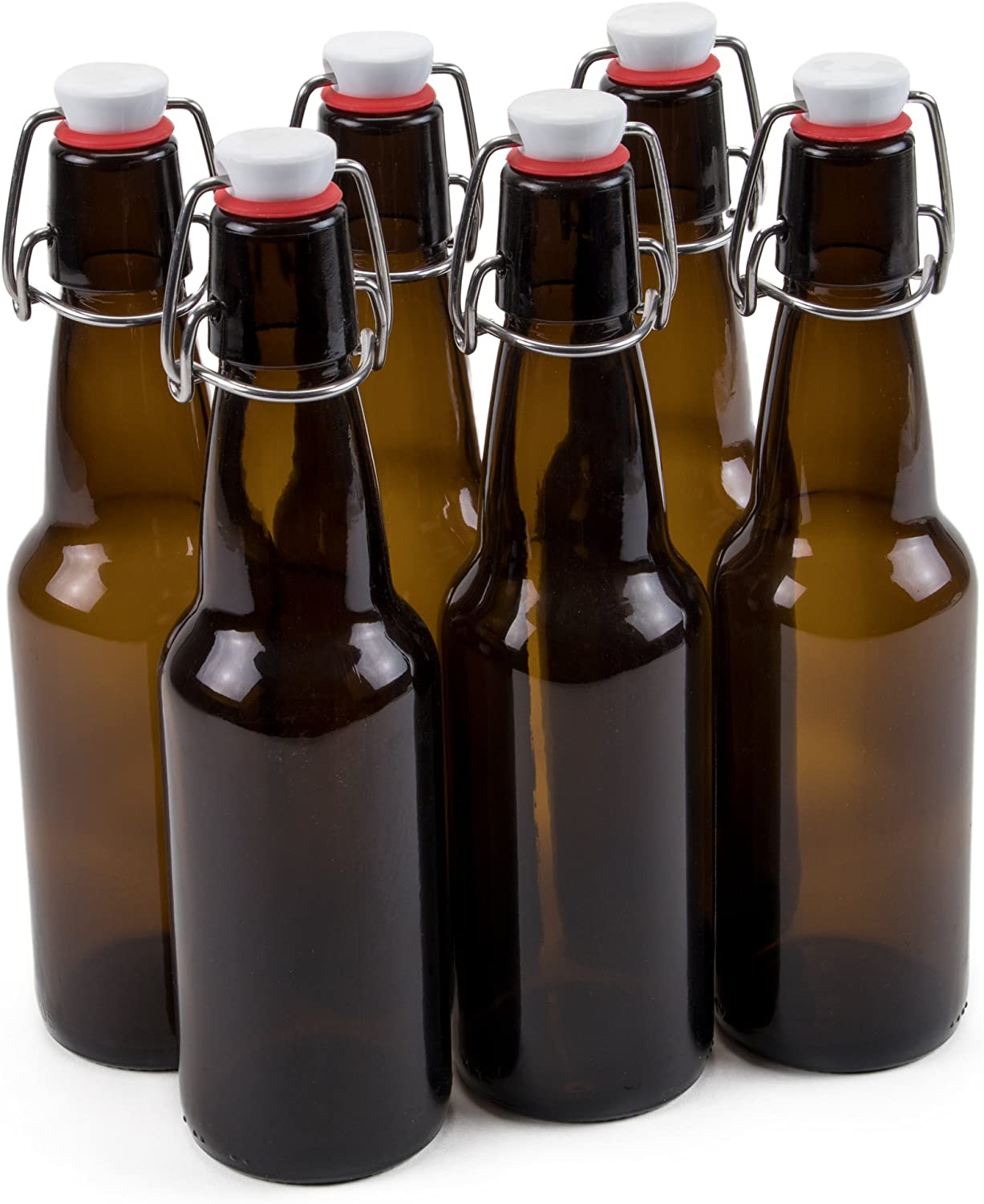 11 oz. Grolsch Glass Beer Bottle – Airtight Swing Top Seal Storage for Home Brewing of Alcohol, Kombucha Tea, Homemade Soda by Cocktailor (6-pack)