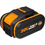 WORX 20V 4.0Ah battery with capability indicator, dual clam shell