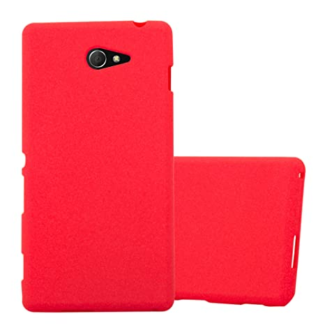 Cadorabo Funda para Sony Xperia M2 / M2 Aqua en Frost Rojo - Cubierta Proteccíon de Silicona TPU Delgada e Flexible con Antichoque - Gel Case Cover ...