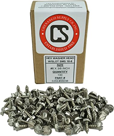 3//8 to 1 in Listing 100 pcs Sheet Metal Screws #6 X 1//2 Stainless Steel Hex Washer Head w//Slot Sheetmetal Screw #6x1//2 INCH