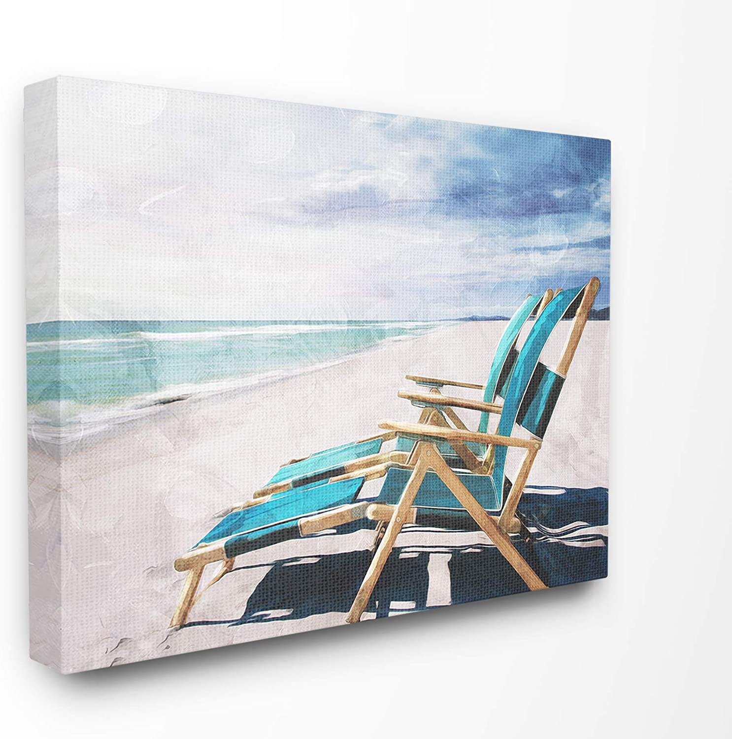 Stupell Industries Set of Teal Blue Chairs on The Beach Canvas Wall Art, 24 x 30, Multi-Color