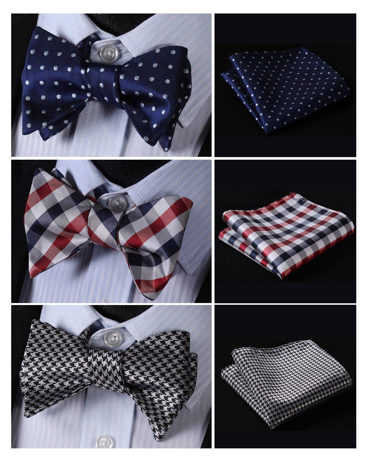 HISDERN 3pcs Mixed Design Classic Men's Self-Tie Bow tie & Pocket Square - Multiple Sets,B3-05,One Size