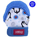 Amazon Price History for:Nuby Happy Hands Soothing Teething Mitten with Hygienic Travel Bag, Blue Penguins