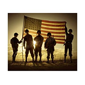 """Soldiers Holding Up American Flag"" Patriotic Wall Art Sign -10 x 8"" US Military Poster Print-Ready to Frame. Perfect Home-Office-Man Cave-Shop-Garage Decor. Great Gift for All Soldiers-Veterans!"