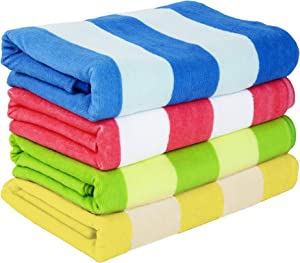 """Exclusivo Mezcla 4 Pack Microfiber Cabana Striped Large Beach/Pool/Bath Towel for Adults (4 Mixed-Color, 30"""" x 60"""")—Soft, Quick Dry, Lightweight and Plush"""