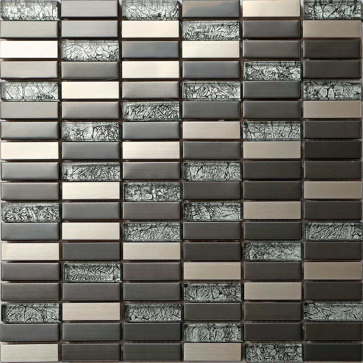 Alfombra de mosaico de mosaico de acero inoxidable y vidrio en negro y plata Alfombrillas de 30 cm x 30 cm x 8 mm (MT0102) GTDE