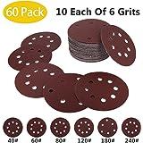 5in Sanding Discs, 60 Pack 8 Holes 5in Hook Loop Design Sandpaper Assorted 40/60/80/120/180/240 Grits
