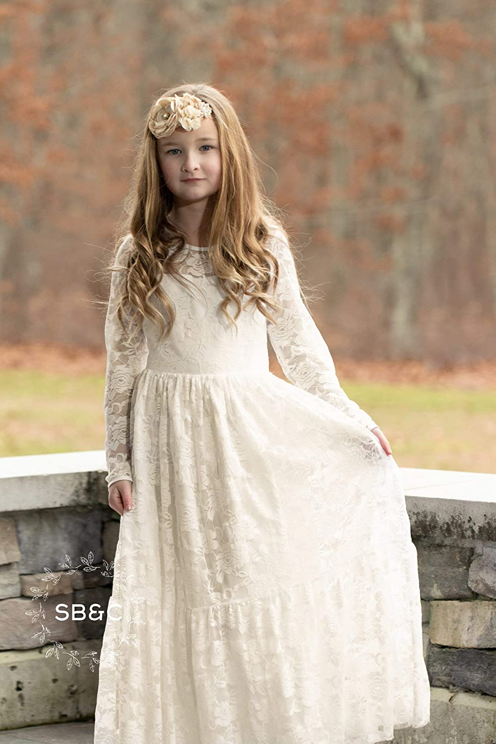 c78947f12f2e Amazon.com: Flower Girl Dresses-Rustic Flower Girl Dress-Vintage girl dress-Country  girl Dress-Ivory Flower girl dress- Communion Dress-Lace girl dress: ...