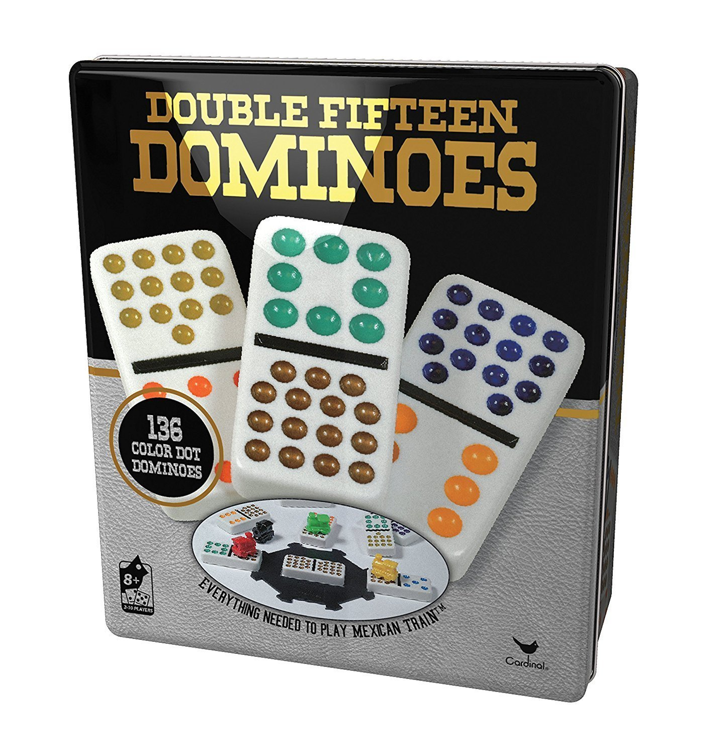 Cardinal Industries Double 15 Color Dot Dominoes in a Collectors Tin (styles will vary)