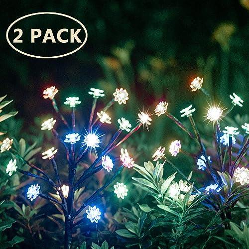 Hmercy Outdoor Solar Garden Stake Lights – 2 Pack Solar Powered Flower Lights LED Solar Landscape Decorative Lights for Garden, Patio, Backyard Solar Flower Lights