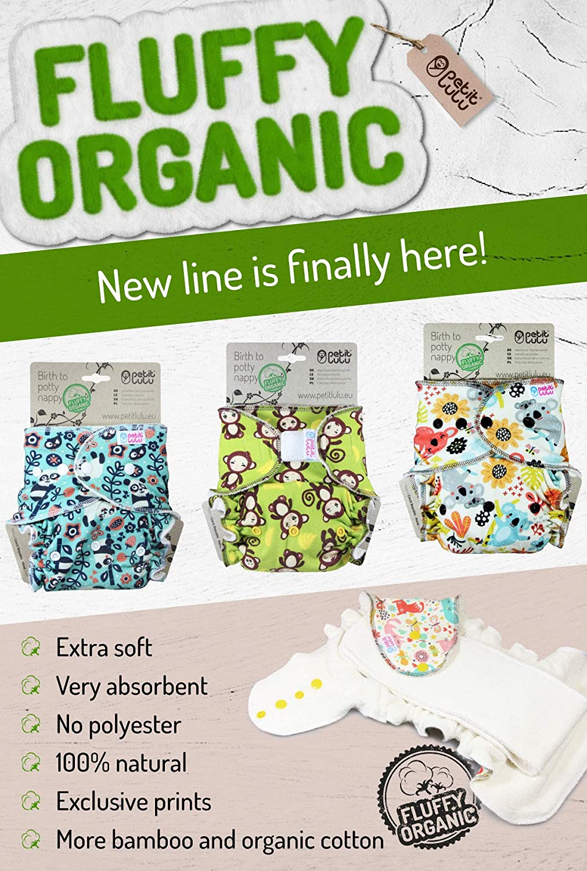 Fluffy Organic Druckkn/öpfe 4-15 kg Panda Ohne Polyester Bambus nat/ürliche wiederverwendbare Stoffwindeln Petit Lulu One Size H/öschenwindel