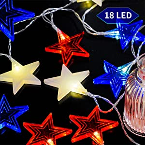 Dazzle Bright Independence Day String Star Lights, 9.5 Feet The Fourth of July 18 LED American Stars Battery Powered Red White Blue Memorial Day Patriotic Decoration for Indoor and Outdoor
