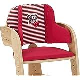 Herlag Sitzpolster für Tipp Topp Comfort und Comfort IV Hochstuhl - Stuhlkissen für Kinder - bequeme Sitzauflage - Farbe: Rot mit weißen Streifen