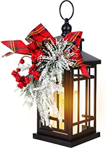 "14"" Christmas Flameless Flickering Candle Lantern Decorative for Outside Outdoor Indoor Patio Table Party, Black Hanging Lanterns Battery Operated with Red Bow"