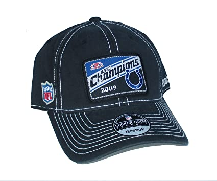 05e81baf5cc Image Unavailable. Image not available for. Color  Indianapolis Colts 2009  AFC Champions Patch Distressed Navy Blue OSFA Hat Cap ...