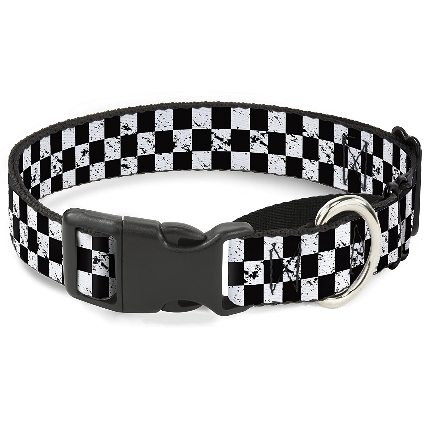 Buckle-Down Checker Weathered2 Black White Martingale Dog Collar, 1  Wide-Fits 9-15  Neck-Small