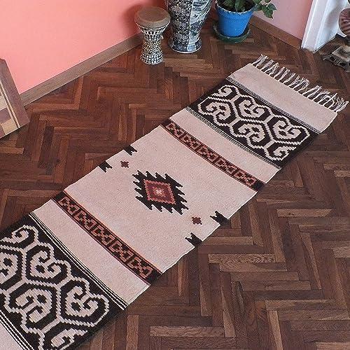 white handwoven kilim rug bohemian rug runner bedroom rug boho rug home