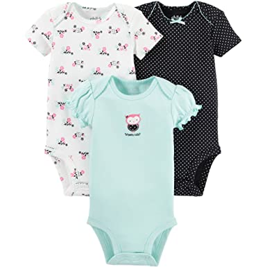 c59530196 Child of Mine by Carters Baby Girls Bodysuit Outfit 3-Piece, Owl Design (