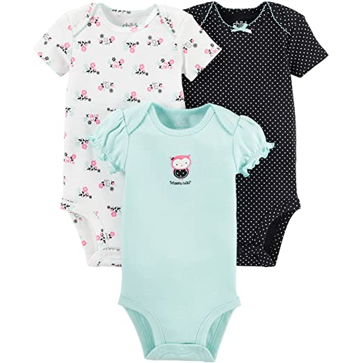 b0487d10325f Child of Mine by Carters Baby Girls Bodysuit Outfit 3-Piece, Owl Design