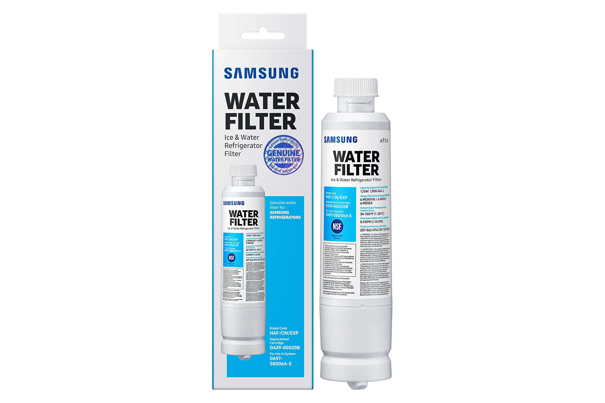 Samsung Genuine DA29-00020B Refrigerator Water Filter, 1 Pack (HAF-CIN/EXP)