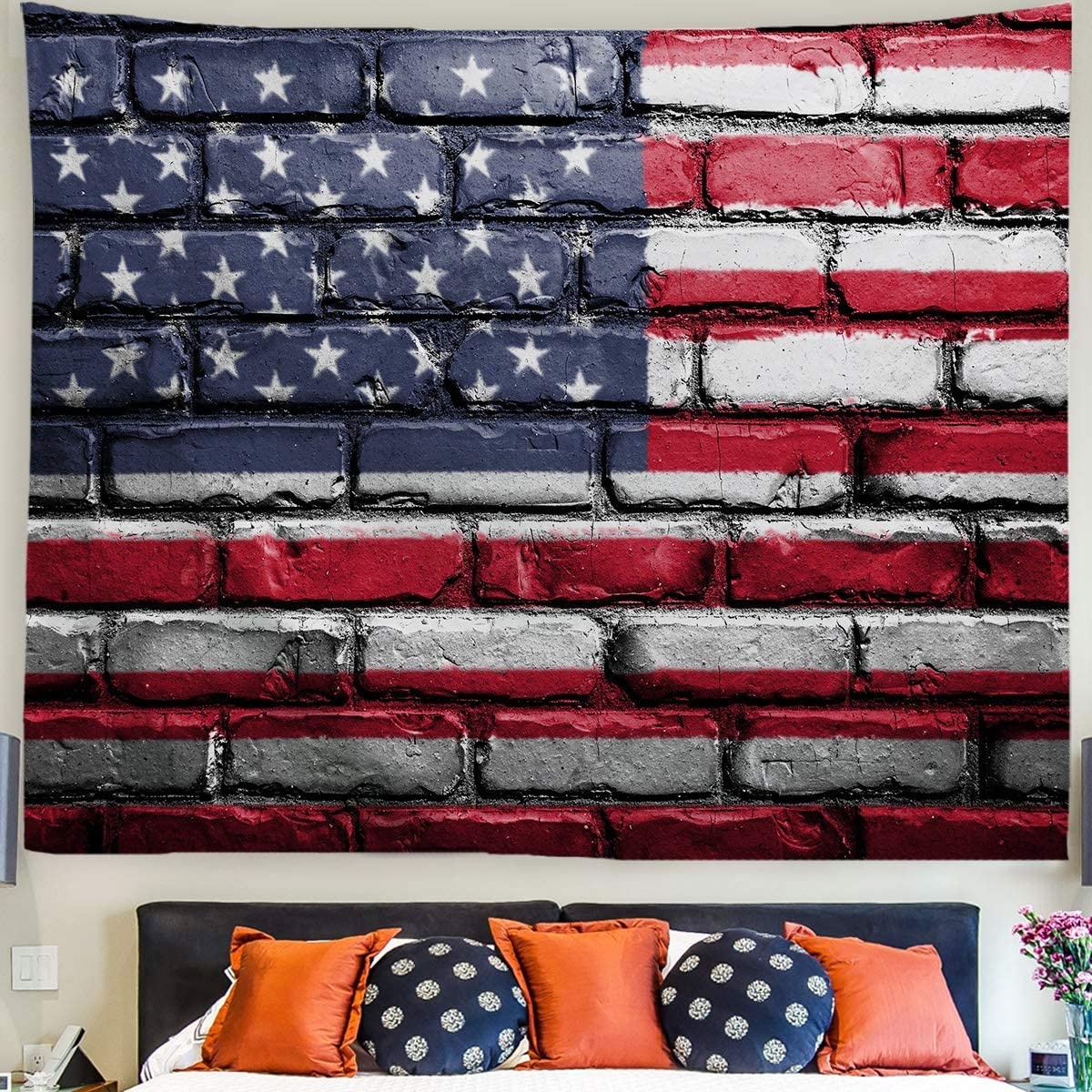 Baccessor American Flag Tapestry Wall Hanging Vintage USA Stars and Stripes Flag Tapestry Brick Wall Tapestry for Dorm Bedroom College Living Room Office Decor, 90 W x 71 L, US Flag