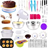 Cake Decorating Supplies 238 PCS Baking Set with Electric Hand Mixer Mixing Bowls Cake Pans, Cake Rotating Turntable, Muffin