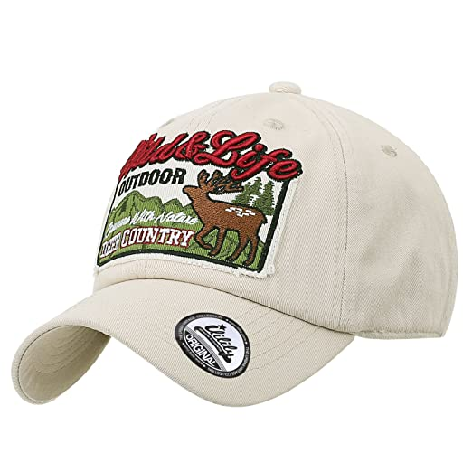 ililily Wild Deer Embroidery Baseball Cap Cotton Strap Back Trucker Hat, Beige