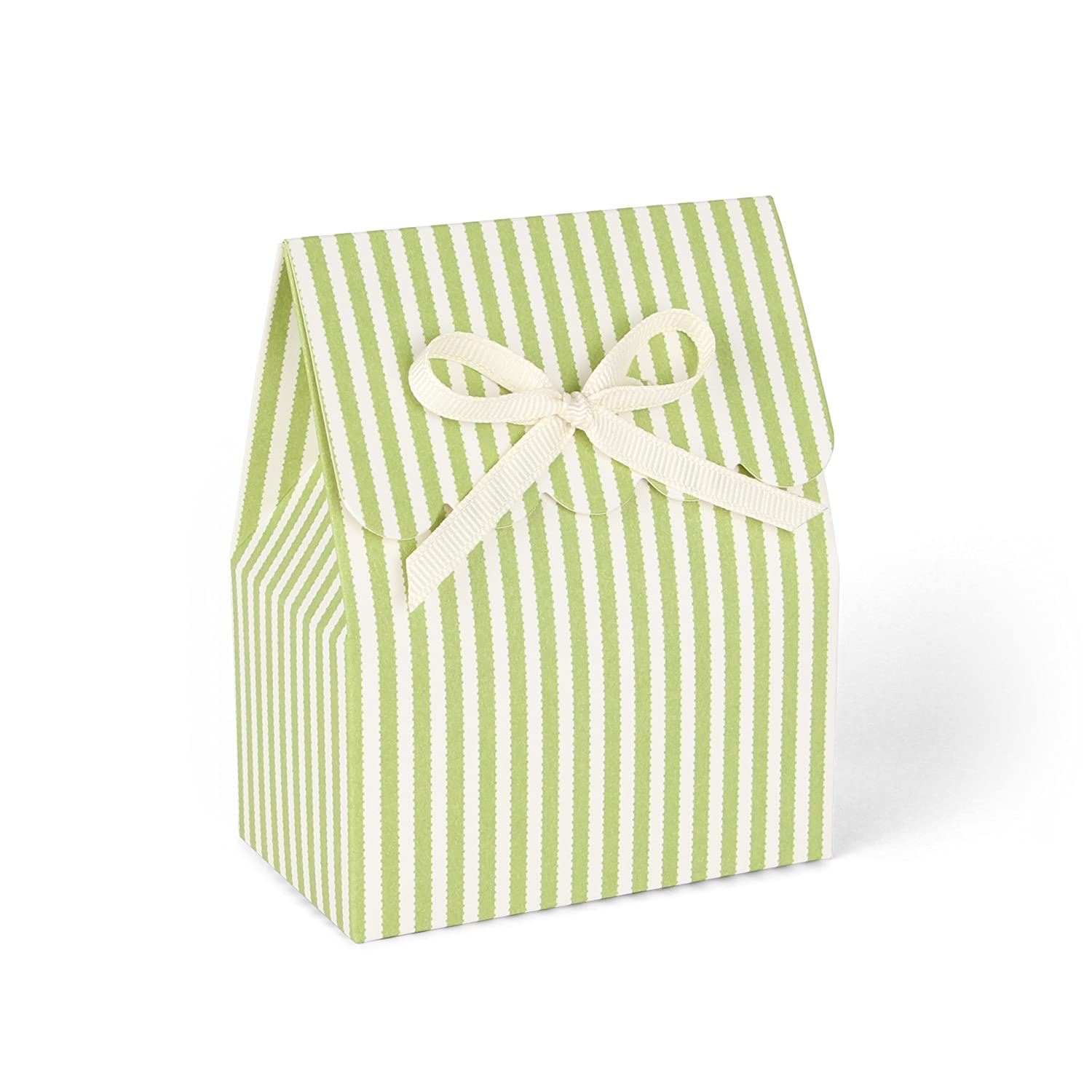 Amazon.com: Green and Ivory Candy-Striped Favor Boxes with Ivory ...