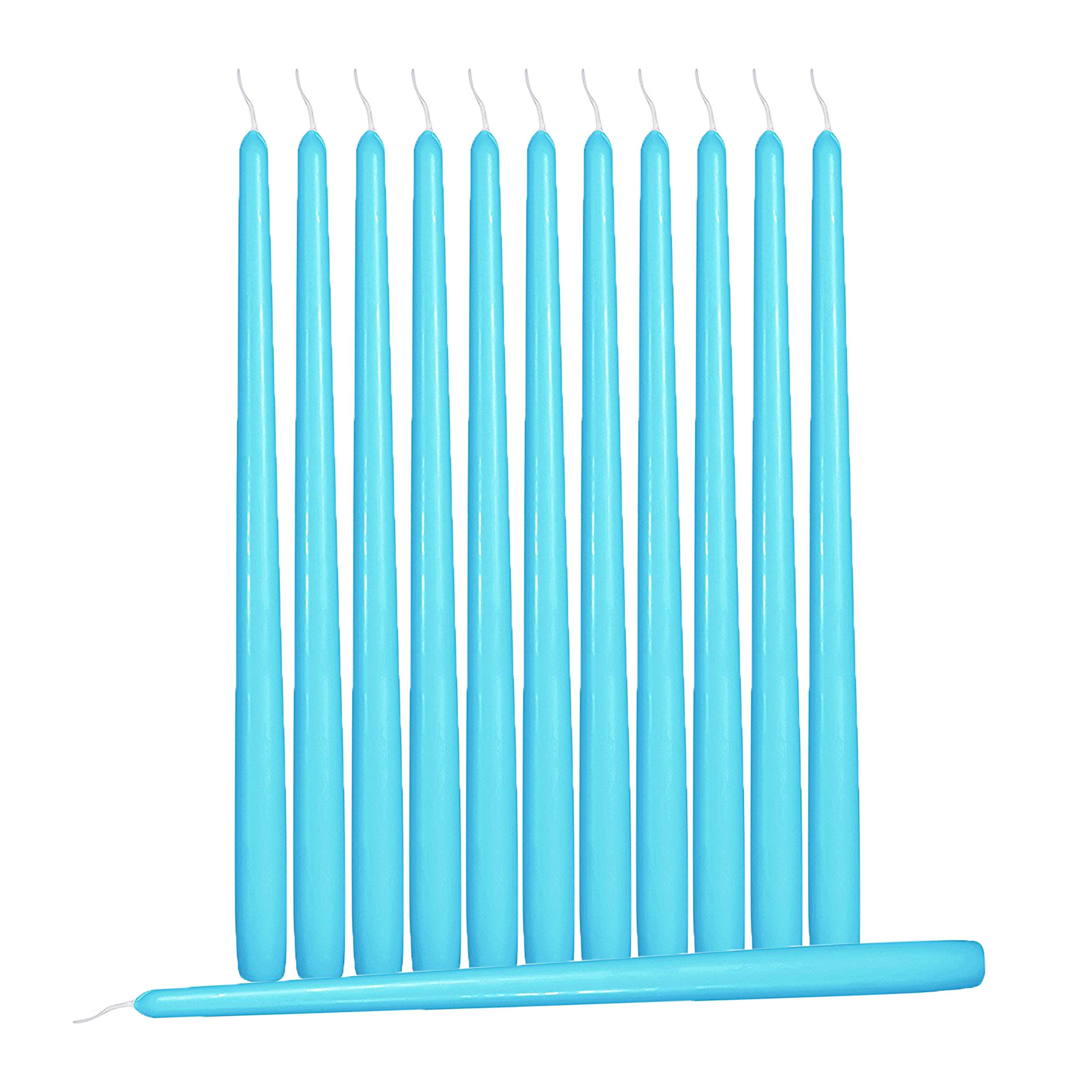 Hyoola 12 Pack Tall Taper Candles - 10 Inch Turquoise Dripless, Unscented Dinner Candle - Paraffin Wax with Cotton Wicks - 8 Hour Burn Time by Hyoola