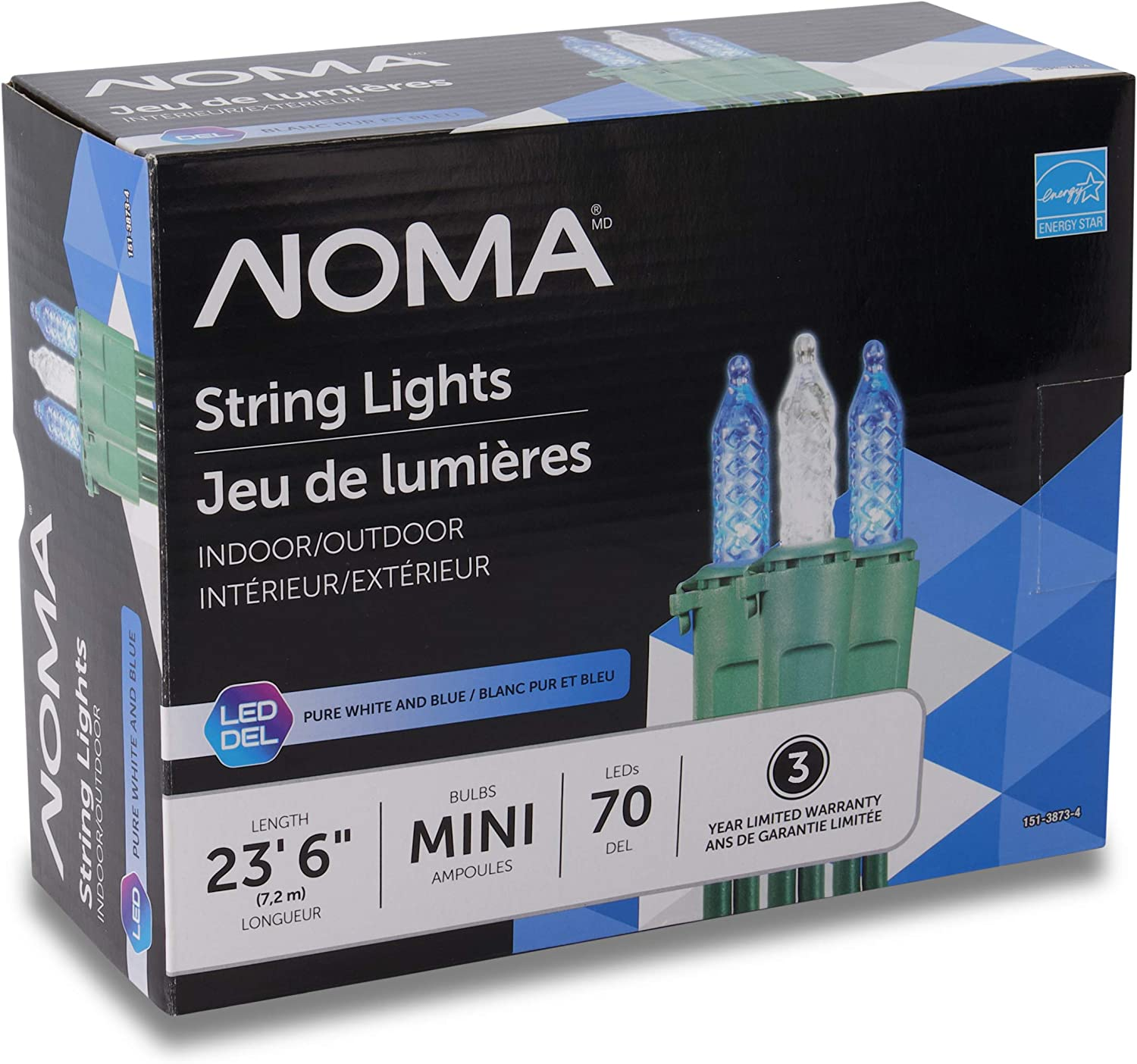 NOMA Premium Mini LED Christmas Lights | 70 Blue & Pure White String Lights | Indoor & Outdoor| 23.6-Foot Strand