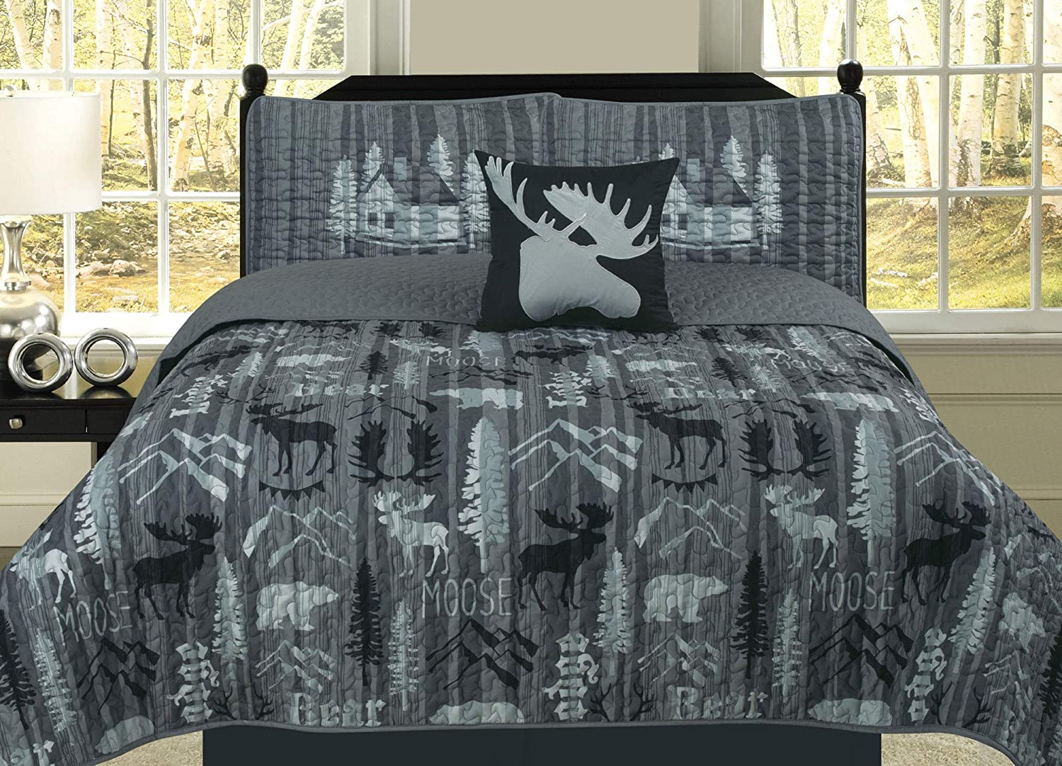 HowPlum Queen Rustic Mountain Lodge Quilt Bedding Set Cabin Woods Moose Bear, Black and Grey