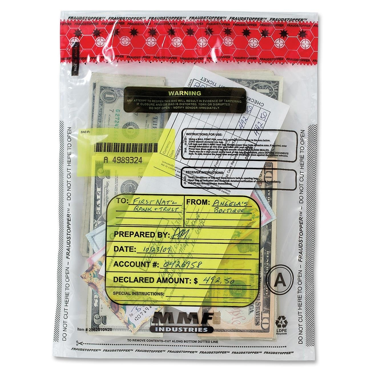 MMF Industries FraudStopper Tamper Evident Deposit Bags 2.5 mm 9 x 12 Inches 100 Bags per Box Clear 2362010N20