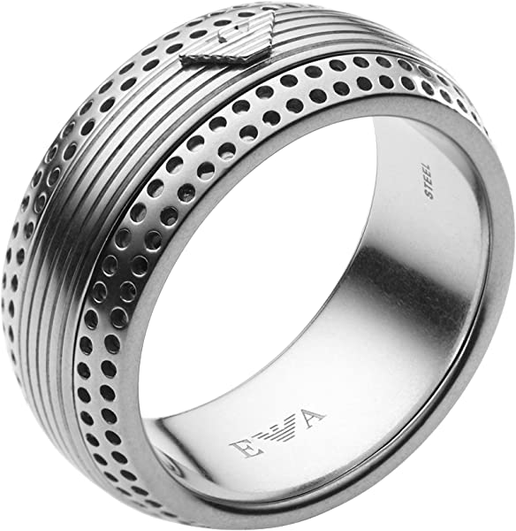 73642183f4585 Emporio Armani EGS1848040 Stainless Steel Logo Statement Men s Ring Size 10