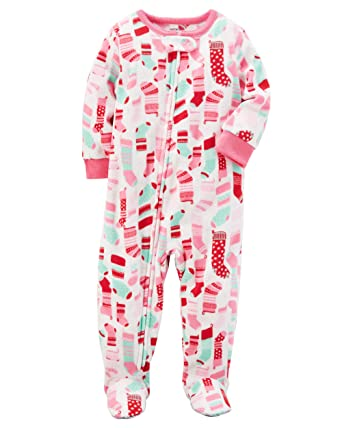 ec33be3e0 Amazon.com  Carter s Girls  12M-14 Santa Fleece Pajamas  Clothing