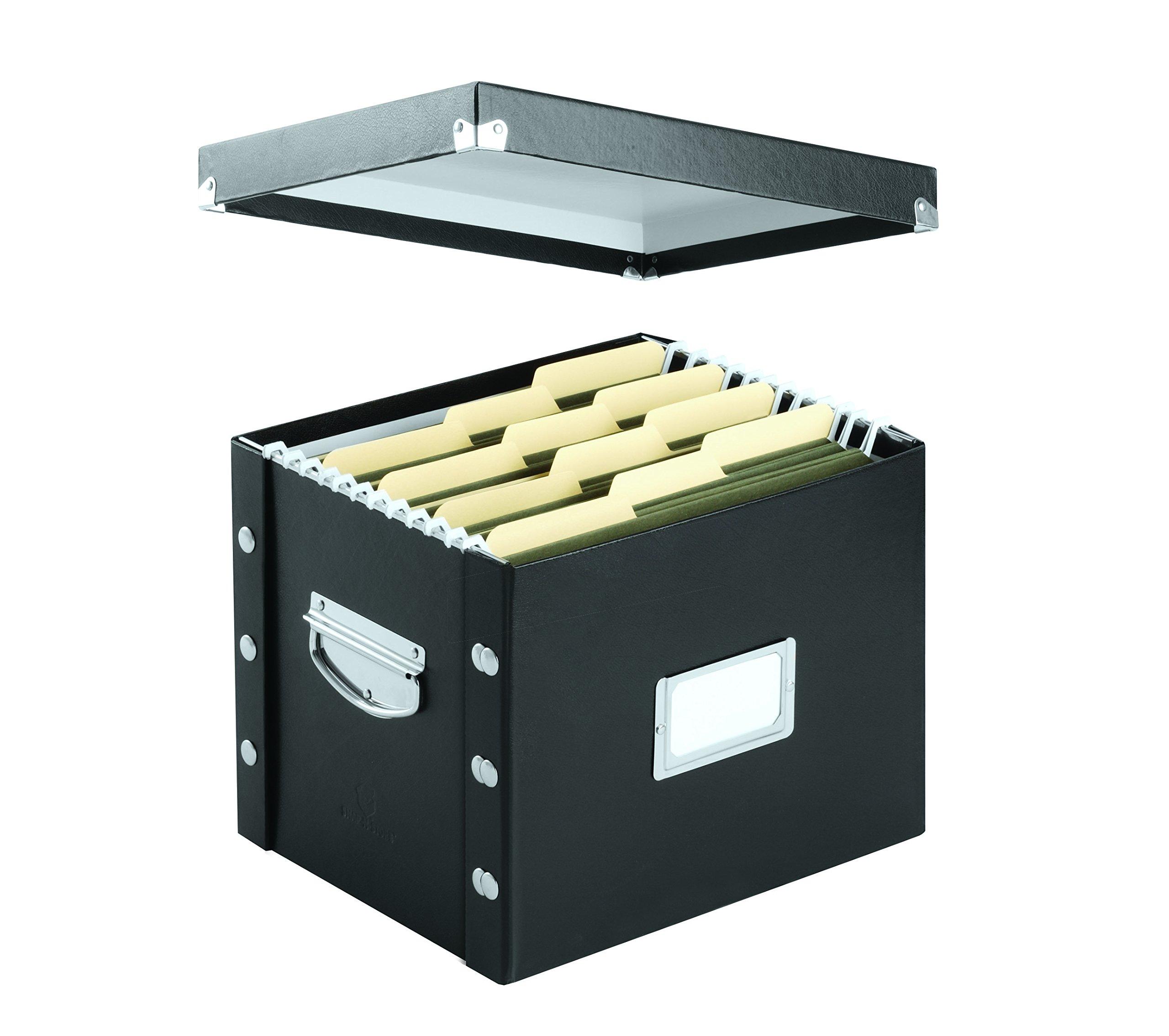 filing storage letter size file box chrome steel black