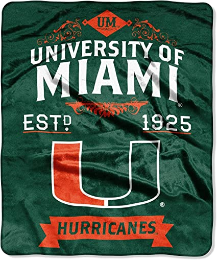 Multi Color The Northwest Company Officially Licensed NCAA Miami Hurricanes Label Plush Raschel Throw Blanket 50 x 60