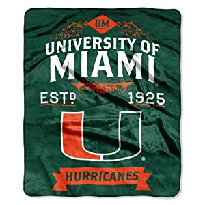 "The Northwest Company Officially Licensed NCAA Miami Hurricanes Label Plush Raschel Throw Blanket, 50"" x 60"", Multi Color"