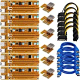 DOCA Mining Card, Riser Card, Newest VER009 PCI Express 16x to 1x Riser Adapter, USB 3.0 Extension Cable 60cm, 6 pin PCI-E to SATA Power Cable, GPU Riser Adapter, Mining Riser Card (6 PACK)