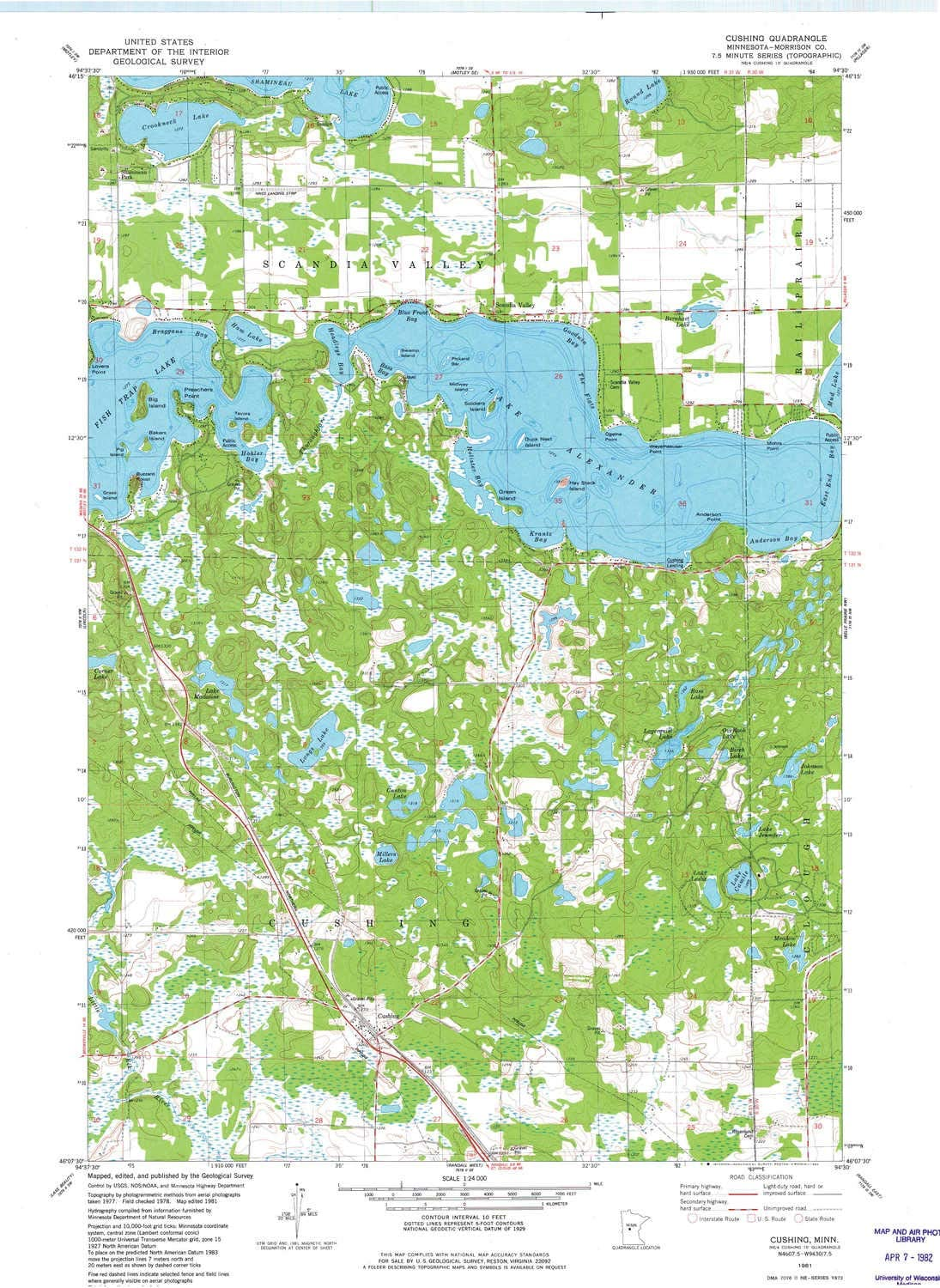 27.23 x 21.53 in 1:24000 Scale Updated 1982 1981 7.5 X 7.5 Minute YellowMaps Cushing MN topo map Historical
