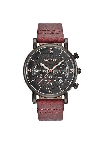 6331bae5d152 Gant Springfield Hombre Reloj de Cuarzo con Negro Esfera Analógica y Rojo  Correa de Piel gt007002  Amazon.es  Relojes